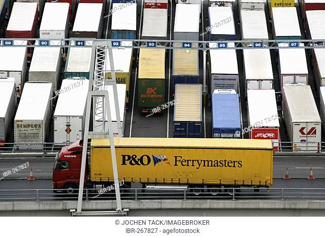 Parked trucks, ferry terminal Dover, Great Britain