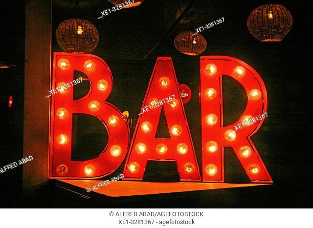 luminous sign of bar