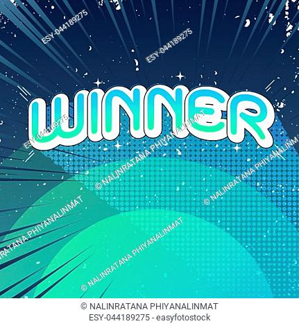 Winner concept with comic text background, stock vector