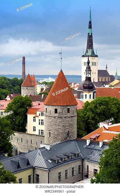 View of Old city's roofs. Tallinn. Estonia