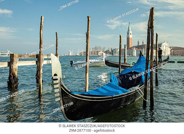 Gondola moored at San Marco district of Venice