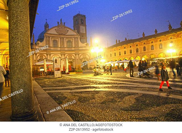 Vigevano, Lombardy (Northern Italy, Province of Pavia), panorama of the world wide famous renaissance Piazza Ducale by night