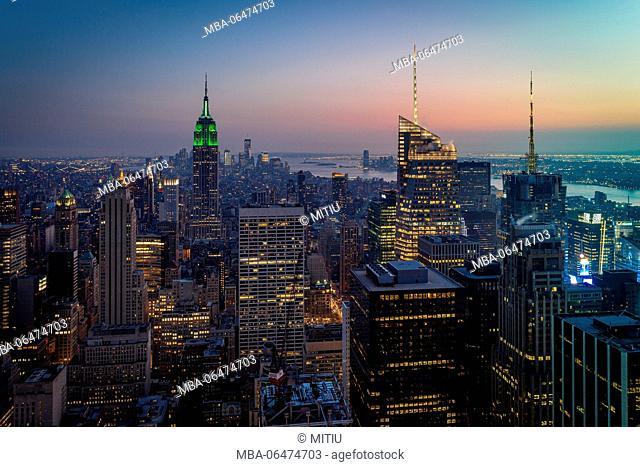 Skyline from above at night, Manhattan, New York city, New York, the USA, North America