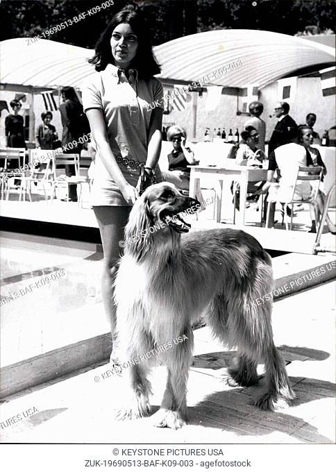 May 13, 1969 - Photo shows: Blsa Baez And Her Dog 'Banjo' In Cannes -Klba Baez Is From Cuba and cane in Cannes for the Presentation of her Movy 'Caucasian'...