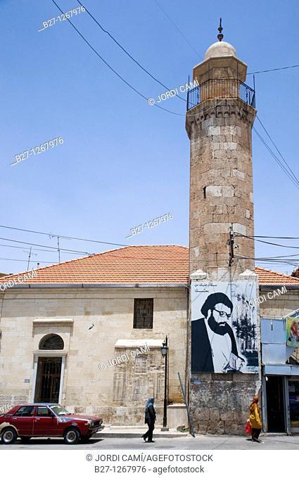 Poster with the image of Hezbollah leader Sayeed Hassan Nasrallah Balbeek  Bekaa valley Lebanon