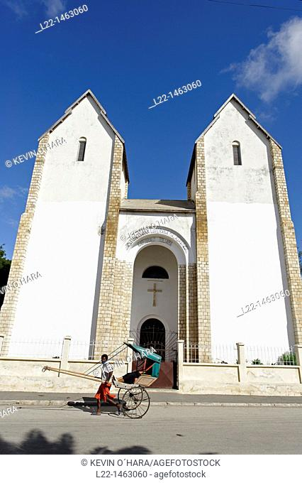 Rickshaw. Lutheran Church. Toliara also known as Tuléar is the capital of the Atsimo-Andrefana region. Madagascar. Indian Ocean