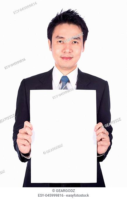 business man holding a blank paper sheet isolated on white background