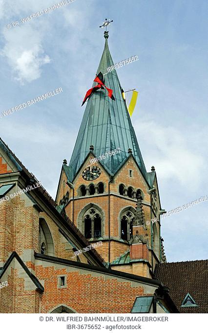 Spire of the Benedictine monastery, St. Ottilien Archabbey, St. Ottilien, Eresing, Upper Bavaria, Bavaria, Germany