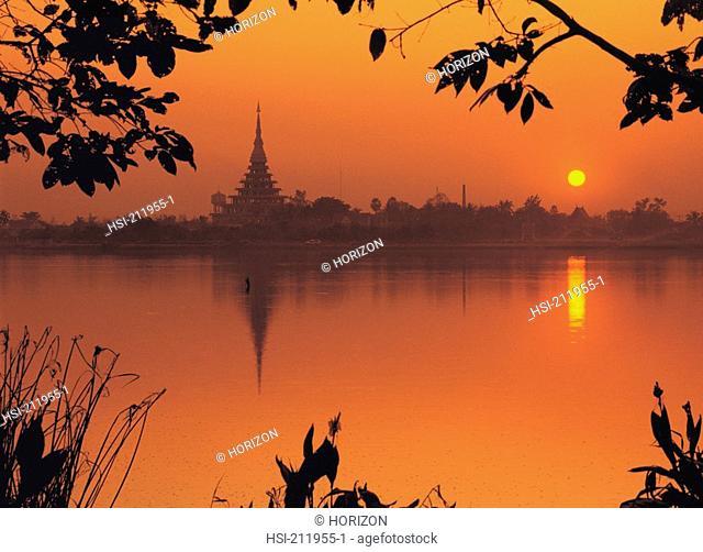 Silhouette sunset view at river, Wat Nong Wang Khon Kaen, Thailand