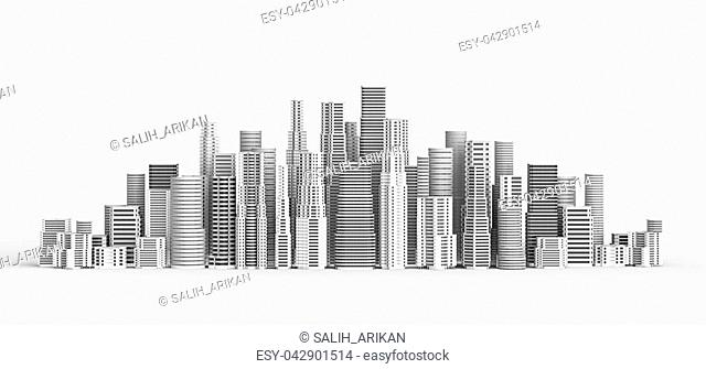 Skyscrapers isolated on white background. 3D illustrating