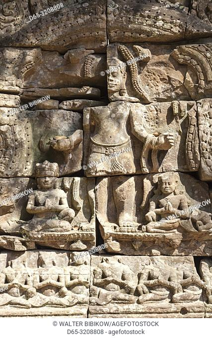 Cambodia, Angkor, Ta Som Temple, temple carvings