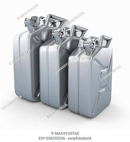 Three aluminium jerrycans. Gasoline can on white background. 3d