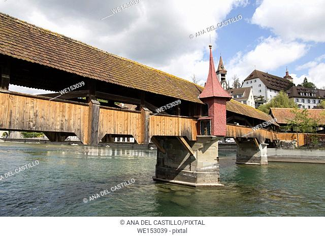 Old Tower and Bridge at Lucerne Switzerland on April 18, 2017