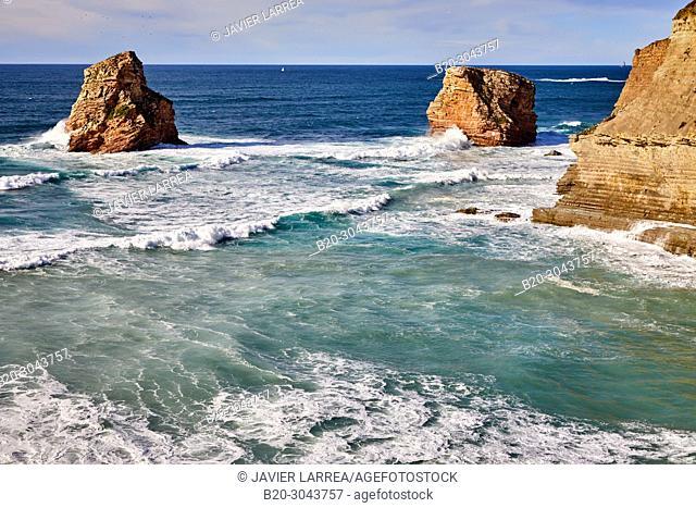 The Twin Rocks, The Basque Corniche, Hendaye, PyrŽnŽes-Atlantiques department, Aquitaine region, France, Europe