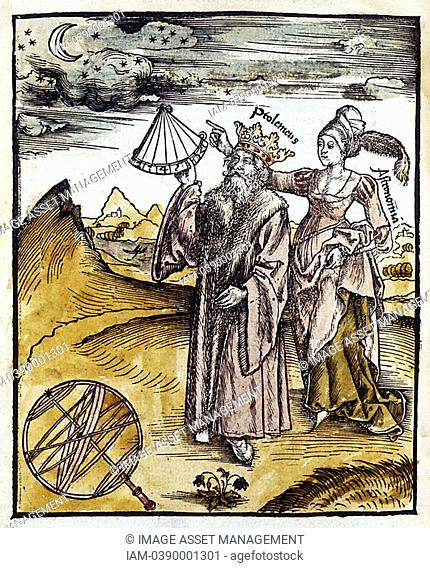 Ptolemy Claudius of Ptolemaeus fl150 AD, Alexandrian Greek astronomer and geographer, using quadrant to observe moon and stars  Urania, Muse of Astronomy