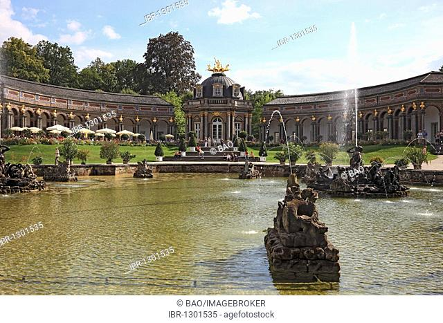 Fountains and New Castle with the Sun Temple in the Hermitage Palace in Bayreuth, Upper Franconia, Bavaria, Germany, Europe