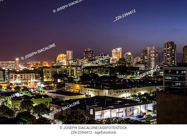 View of Downtown San Diego buildings at night. San Diego, California, United States