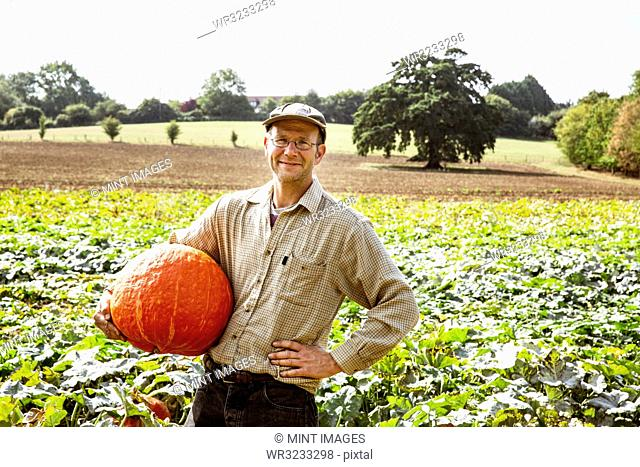 Smiling farmer standing in a field, holding large red pumpkin