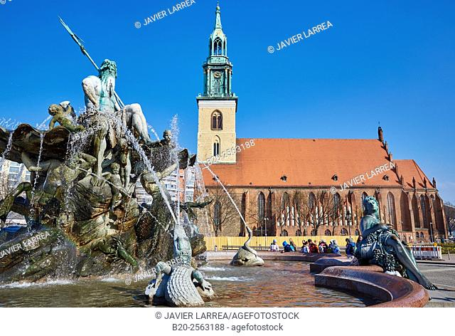 Neptune Fountains, Marienkirche church, Alexanderplatz, Berlin, Germany
