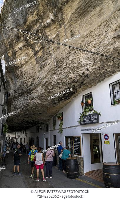 Setenil de las Bodegas, one of small white towns in Andalusia, Spain
