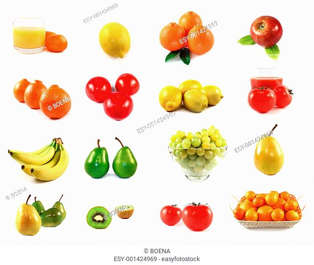 Fruits collection isolated