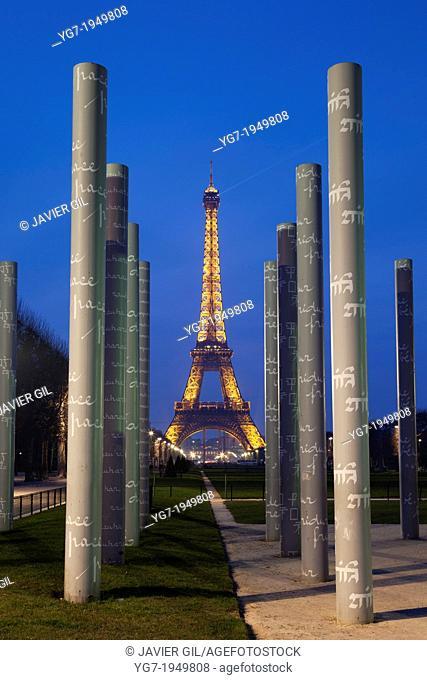 Wall of peace and tour Eiffel, Paris, Ile de France, France