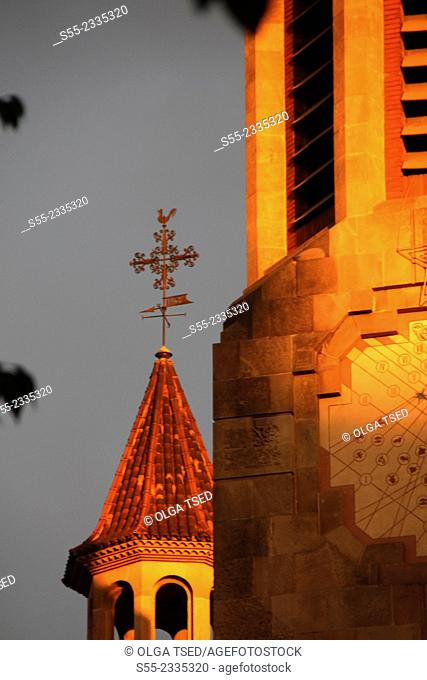 Church in the sunset. Parroquia de la Mare de Deu dels Angels. Balmes street, Barcelona, Catalonia, Spain
