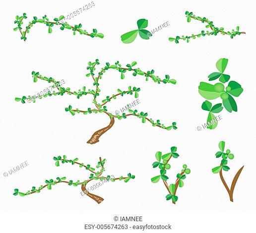 Isometric Set of Bonsai Tree and Green Plants