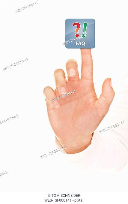 Human hand touching FAQ icon