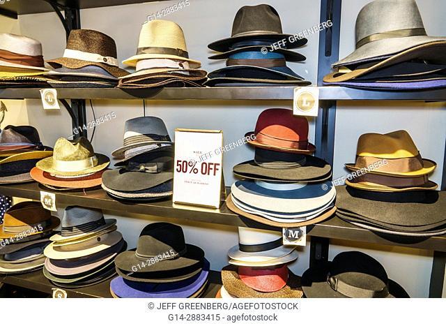 Florida, Miami Beach, Lincoln Road, pedestrian mall, store, shopping, hats, head-ware, display, genuine, Panama hats, sale, half price, 50% off, interior