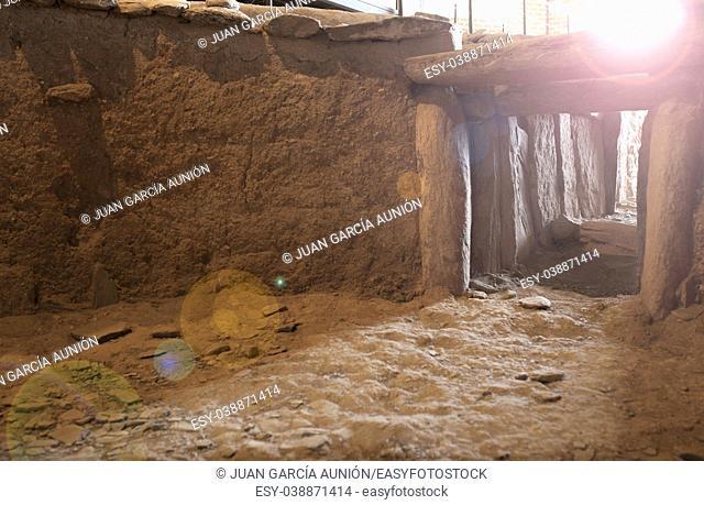 Archeological site of Huerta Montero, Calcholitic Dolmen. First winter solstice sunray taken from dolmen interior, Almendralejo, Spain