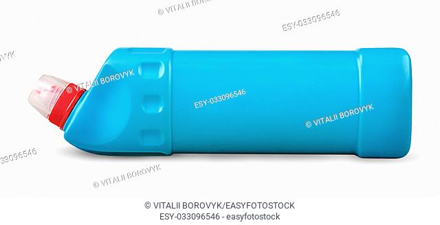Disinfectant in a plastic bottle horizontally isolated on white background