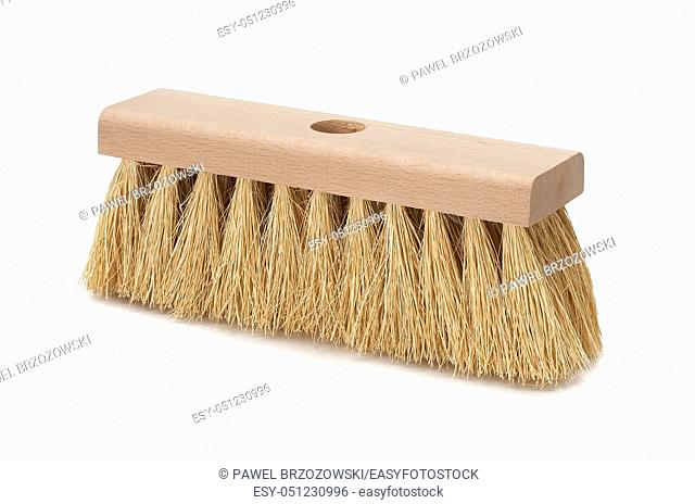 Broom isolated on white background. Cleaning equipment for housework and domestic life