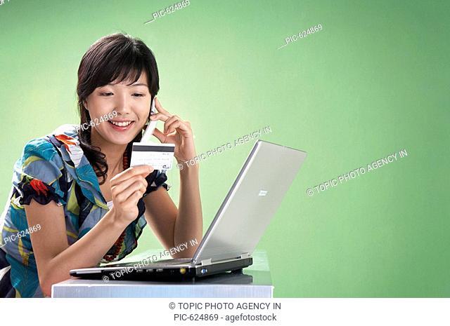 Woman Using Laptop, Korea