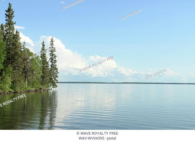 Reflection in Clear Lake, Riding Mountain National Park, Manitoba, Canada