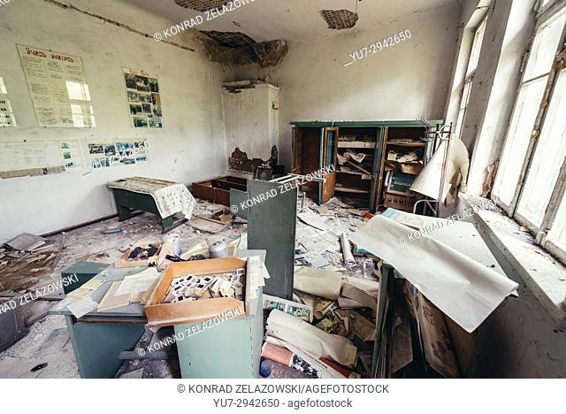 Classroom in old secondary school in Mashevo abandoned village of Chernobyl Nuclear Power Plant Zone of Alienation in Ukraine