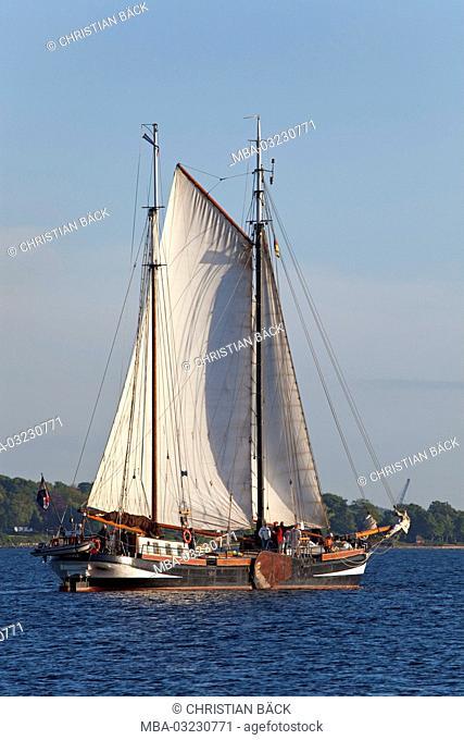 Sailing boat in the Kiel Fjord, Kiel, Schleswig - Holstein, North Germany, Germany