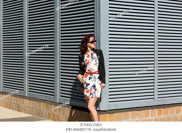Tender young woman wearing stylish dress and sunglasses, posing near the shutters at the street. Space for text