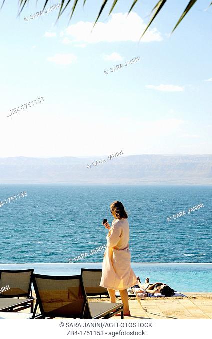 Pool over the sea, Movenpick Hotel, Dead Sea, Jordan, Middle East