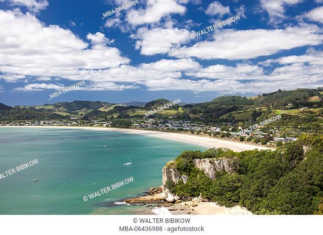 New Zealand, North Island, Coromandel Peninsula, Cooks Beach, elevated view from Shakespeare Cliff