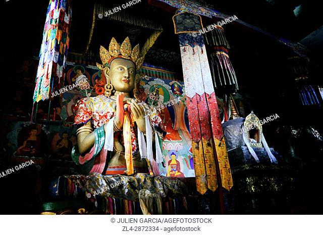 India, Jammu and Kashmir, Ladakh, Nubra valley, Buddhist monastery of Samstanling in Sumur, statue of Buddha