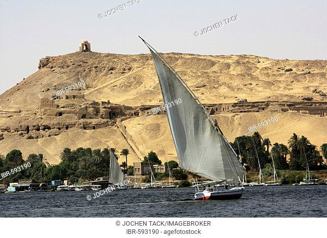 Felucca, traditional sailing boats on the river Nile, near Aswan, Egypt, Africa