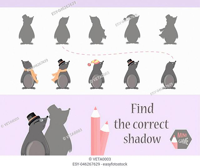 Find the correct shadow, education game for children. Cute Cartoon animals and Nature. vector illustration. mole