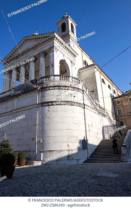 Important presence of the cathedral in the city center. Schio, Veneto. Italy