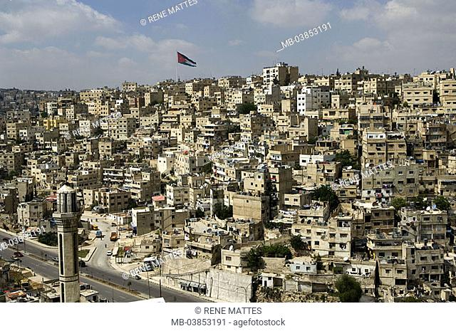 Jordan, Amman, city-opinion, national-flags, Near east, city, capital, city, street, traffic, houses, architecture, flagpole, ensign, national-pride, minaret