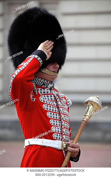Soldier in traditional uniform during the change of the guards at Buckingham Palace, London, UK