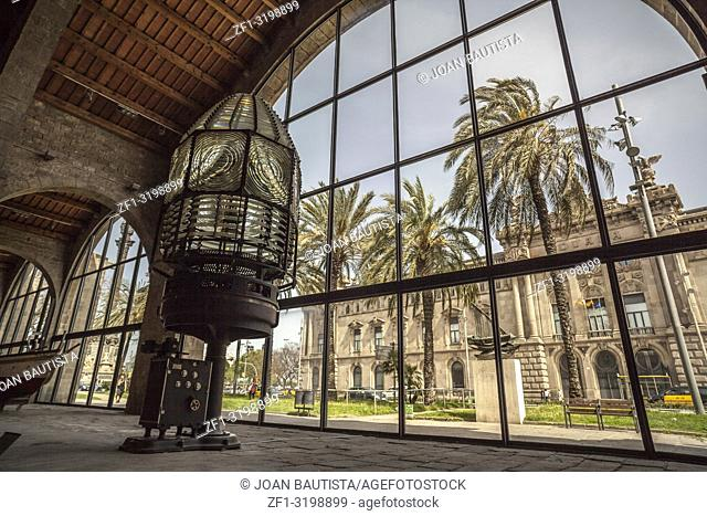 Interior of Maritime museum of Barcelona, located in Drassanes reials, Royal Shipyard, gothic architecture