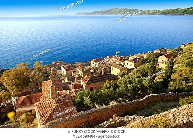 Arial view of Monemvasia  eµßasa  Byzantine Island catsle town with acropolis on the plateau  Peloponnese, Greece