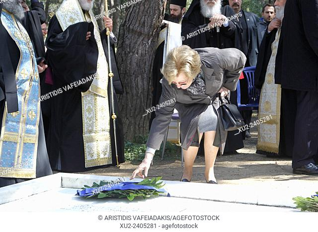 Queen ANNE-MARIE(L) of Greece and Denmark attends the ceremony. The annual memorial service in honour of King Pavlos and Queen Frederika was held earlier today...