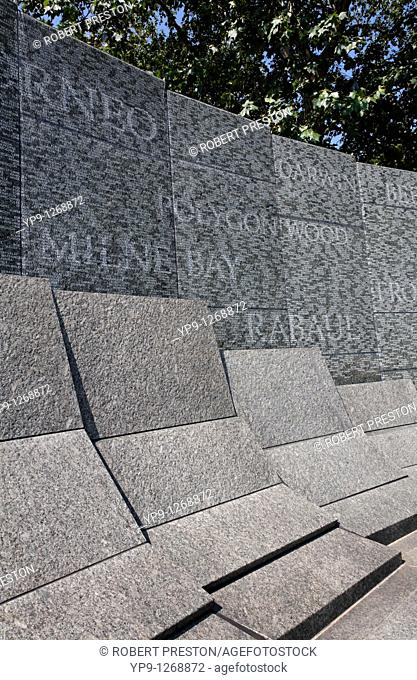 The Australian War Memorial, etched with the names of battles and soldiers, Hyde Park Corner, London, UK
